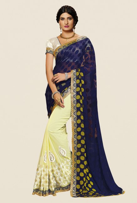 Shonaya Blue & Yellow Georgette Embroidered Saree