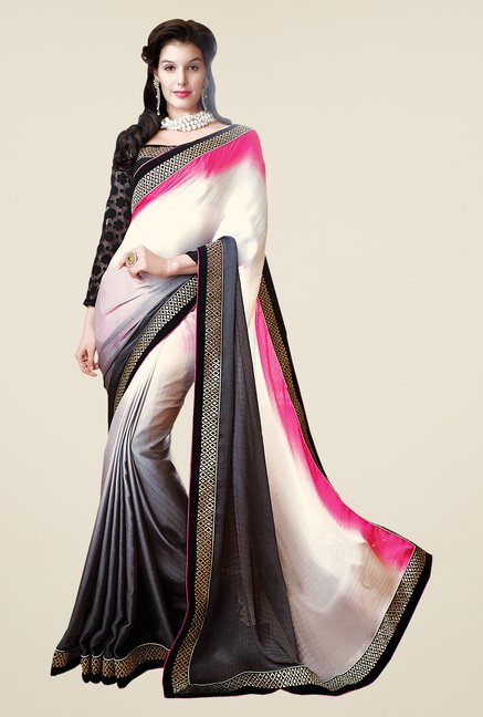 Shonaya Grey & Cream Solid Saree