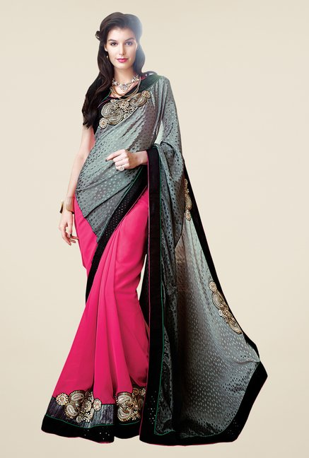 Shonaya Pink & Grey Faux Georgette Embroidered Saree
