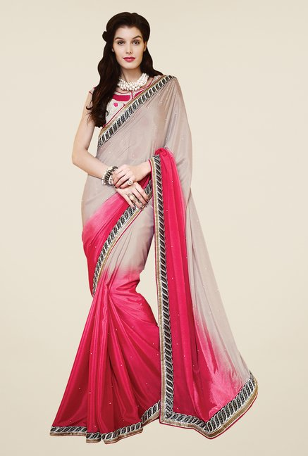 Shonaya Pink & Beige Chiffon Embroidered Saree