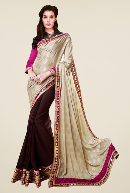 Shonaya Brown & Beige Faux Georgette Polka Dots Saree