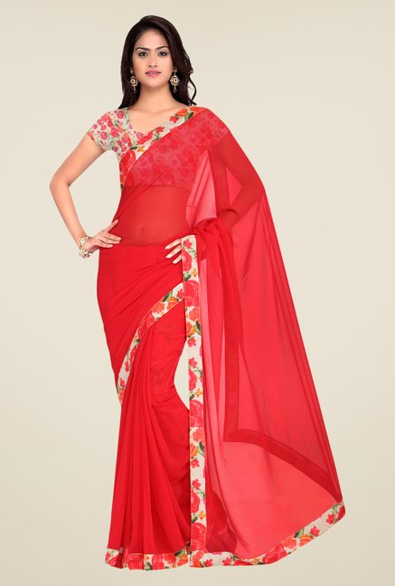 Shonaya Red Georgette Floral Print Saree