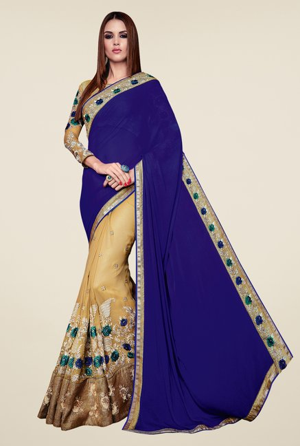 Shonaya Beige & Blue Chiffon Embroidered Saree