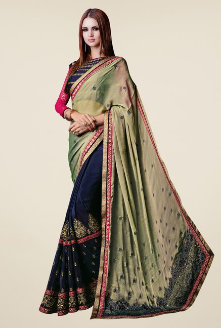 Shonaya Navy & Mehendi Chiffon & Satin Embroidered Saree
