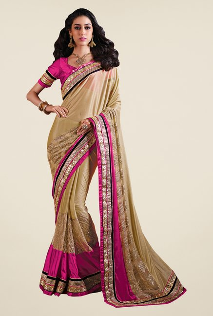 Shonaya Gold & Pink Georgette Solid Saree