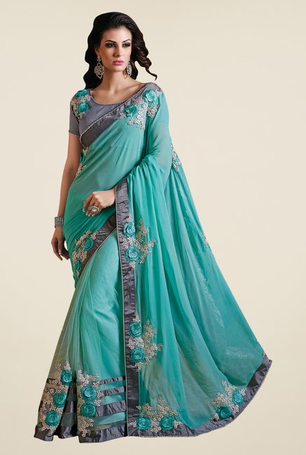 Shonaya Turquoise Net & Georgette Embroidered Saree