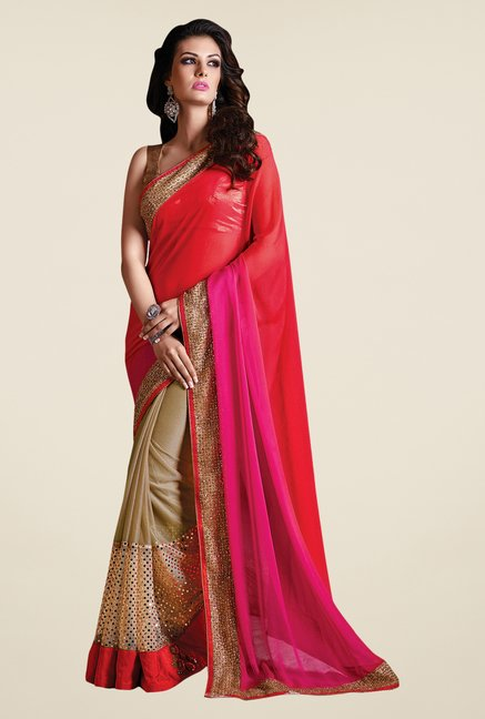 Shonaya Beige & Red Georgette & Net Solid Saree