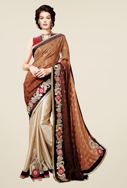 Shonaya Beige & Brown Satin Chiffon Embroidered Saree