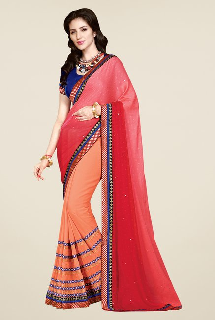 Shonaya Peach Faux Georgette Solid Saree