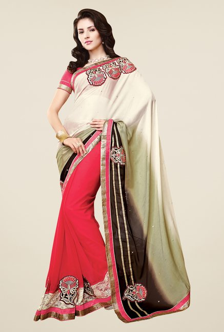 Shonaya Coral & Cream Faux Georgette Embroidered Saree