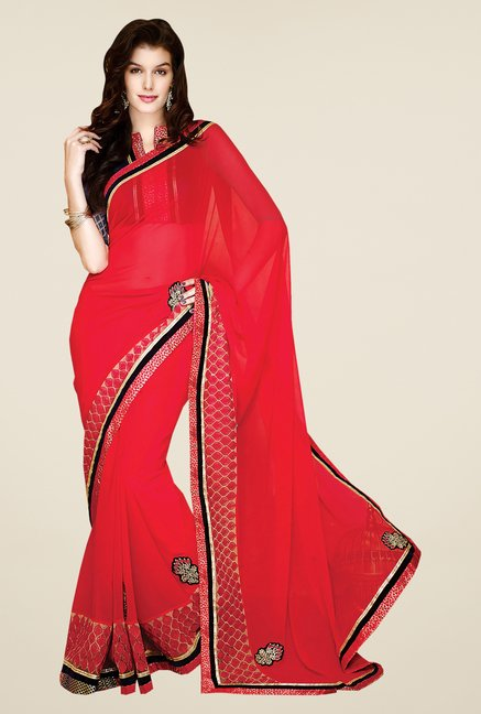 Shonaya Red Faux Georgette Embroidered Saree