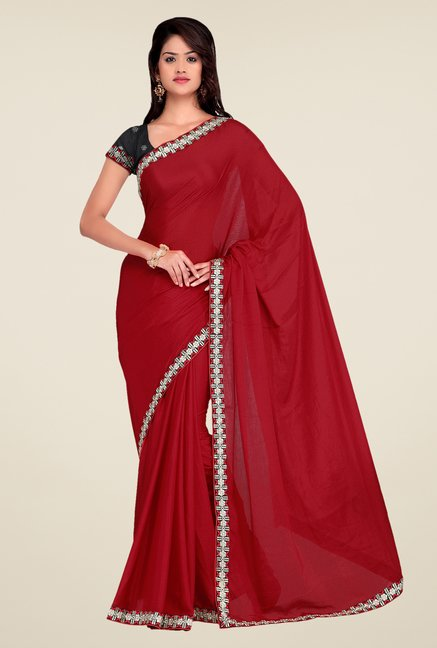 Shonaya Maroon Crepe Chiffon Embroidered Saree