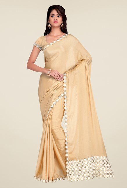 Shonaya Beige Crepe Chiffon Embroidered Saree