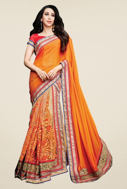 Shonaya Orange & Beige Net & Silk Embroidered Saree