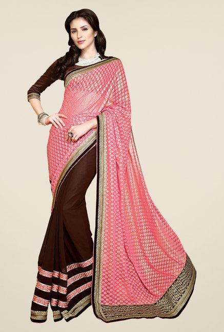 Shonaya Brown & Peach Faux Georgette Embroidered Saree