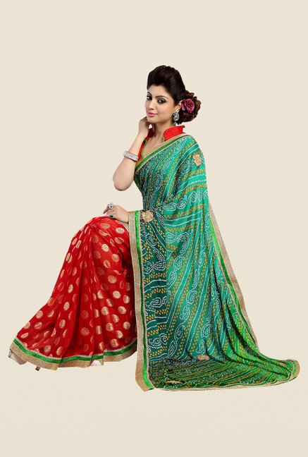 Shonaya Red & Green Georgette Bandhani Saree
