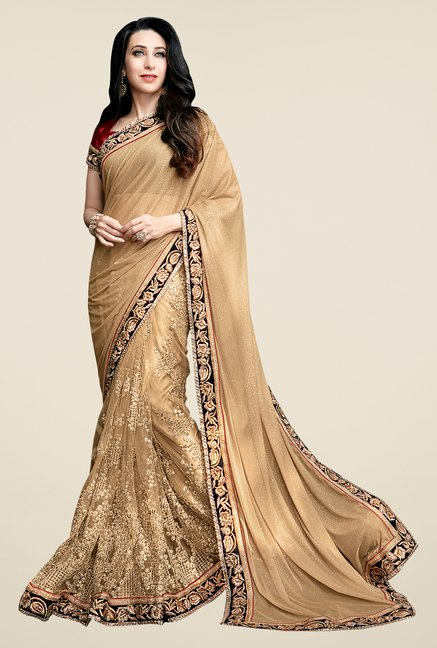 Shonaya Gold Net & Georgette Embroidered Saree