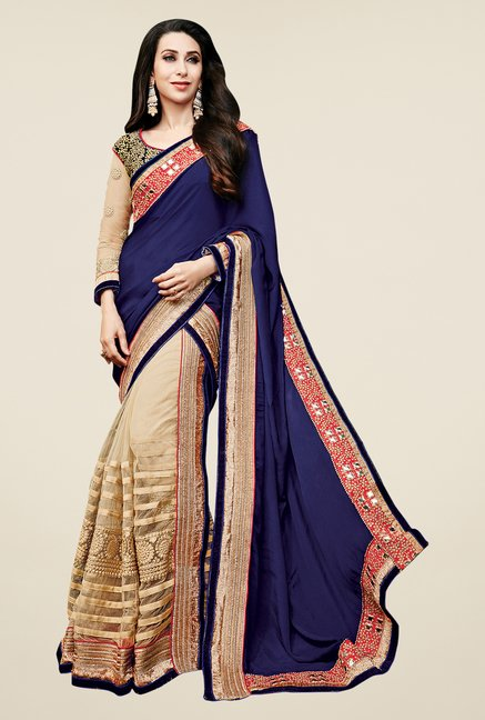 Shonaya Beige & Navy Net & Georgette Embroidered Saree