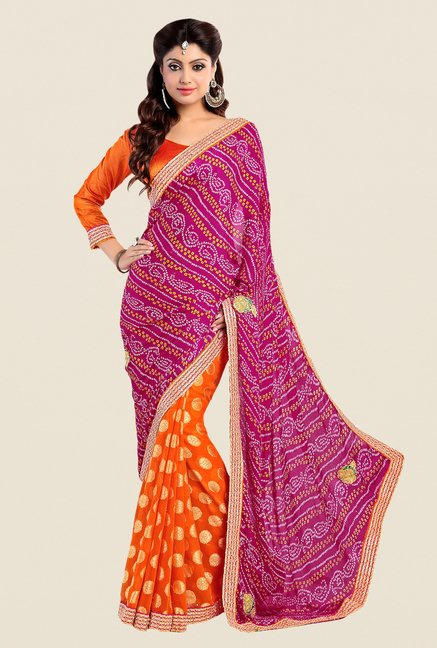 Shonaya Orange & Pink Georgette Bandhani Saree