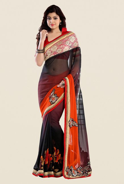 Shonaya Black & Orange Georgette Embroidered Saree