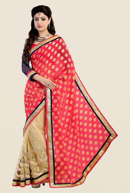 Shonaya Beige & Coral Georgette Embroidered Saree