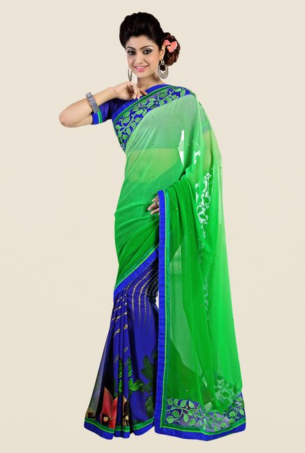 Shonaya Blue & Green Georgette Embroidered Saree