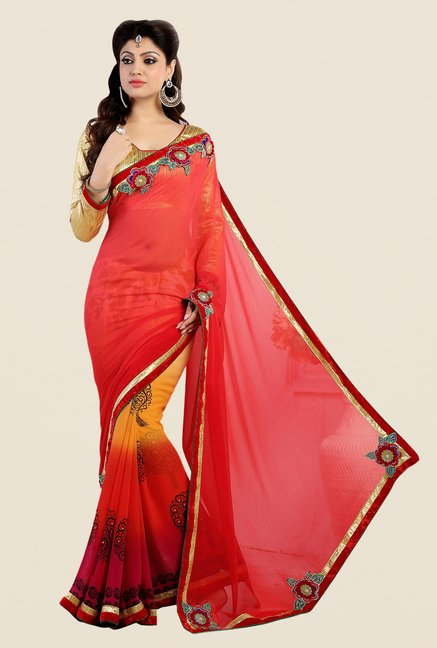 Shonaya Red Georgette Embroidered Saree