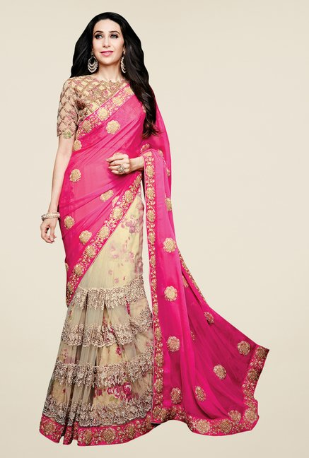 Shonaya Pink & Beige Net & Satin Chiffon Embroidered Saree