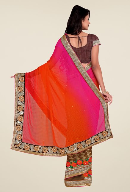 Shonaya Beige & Orange Georgette Embroidered Saree