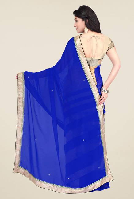 Shonaya Blue & Beige Georgette Striped Saree