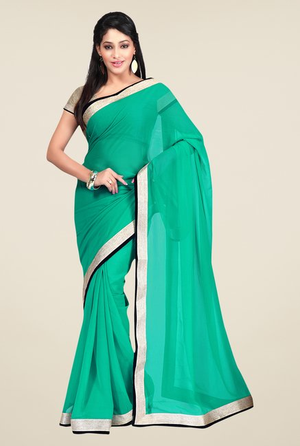 Shonaya Green Georgette Solid Saree