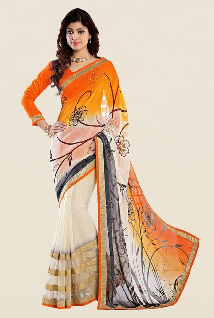 Shonaya White & Orange Georgette Printed Saree