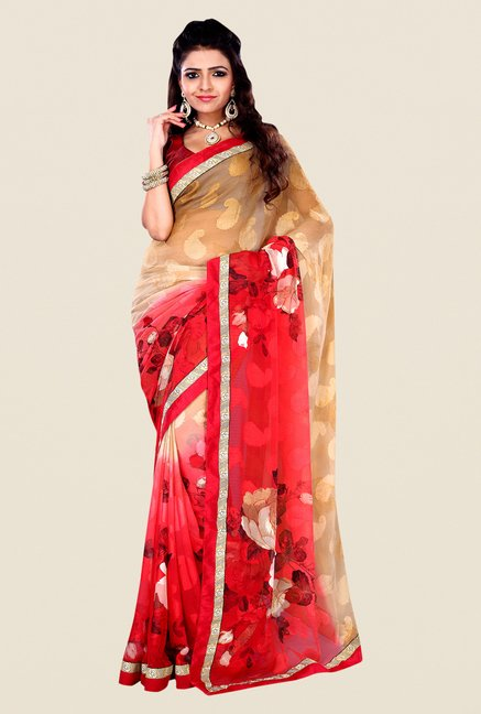 Shonaya Red & Beige Georgette & Viscose Printed Saree