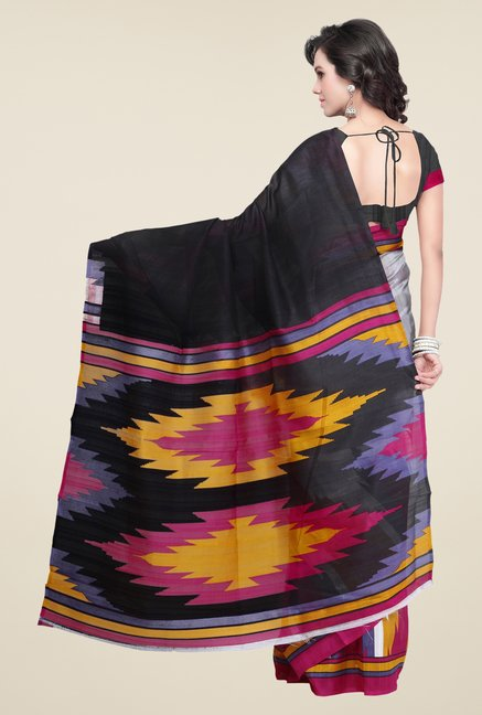Shonaya White & Black Bhagalpuri Silk Printed Saree