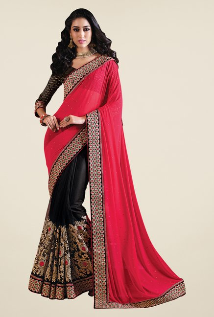 Shonaya Black & Pink Net Embroidered Saree