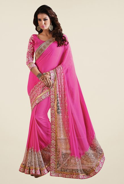 Shonaya Pink Faux Georgette Embroidered Saree