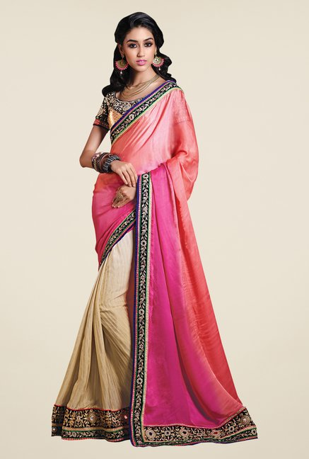 Shonaya Beige & Peach Jacquard & Georgette Embroidered Saree