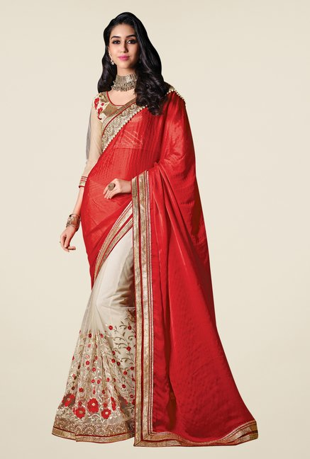 Shonaya Beige & Red Embroidered Saree