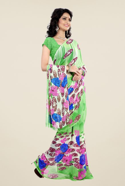 Shonaya Green Faux Georgette Printed Saree