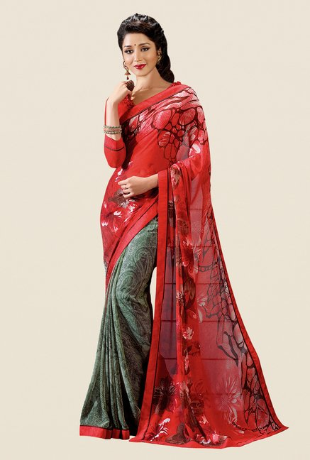 Shonaya Olive & Red Georgette Printed Saree