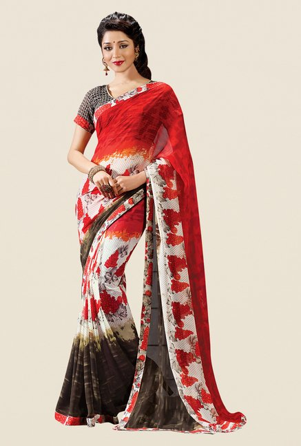 Shonaya Red & Cream Georgette Printed Saree