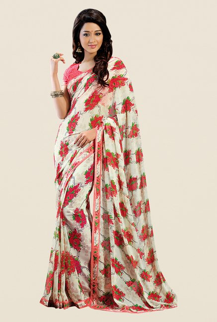 Shonaya Cream & Red Georgette Floral Print Saree