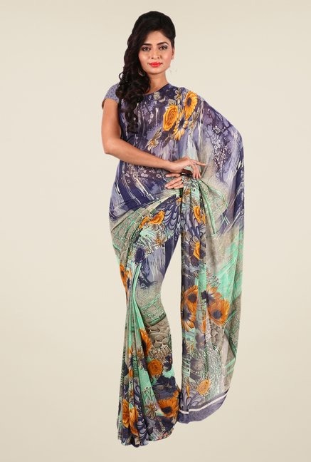 Shonaya Grey & Green Georgette Printed Saree