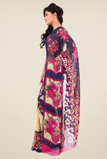 Shonaya Cream & Navy Georgette Printed Saree