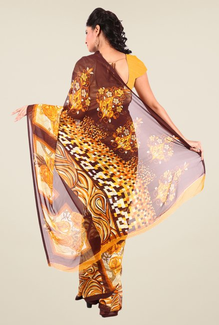 Shonaya Brown & Yellow Georgette Printed Saree