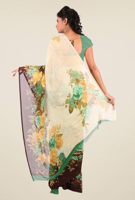 Shonaya Beige & Green Georgette Printed Saree