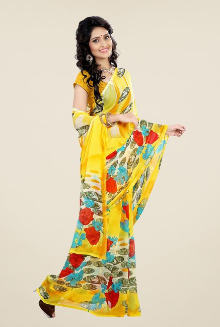 Shonaya Yellow Faux Georgette Printed Saree