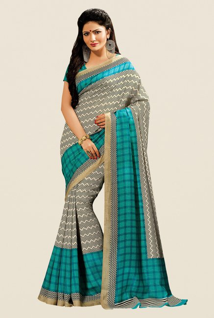 Shonaya Beige & Turquoise Cotton Silk Printed Saree