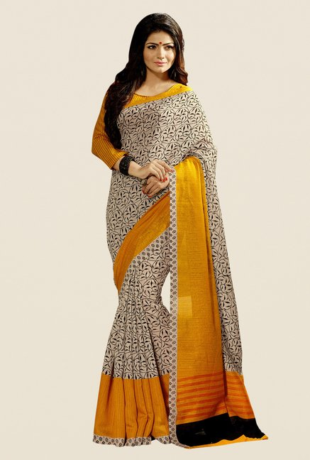 Shonaya Beige & Mustard Cotton Silk Printed Saree