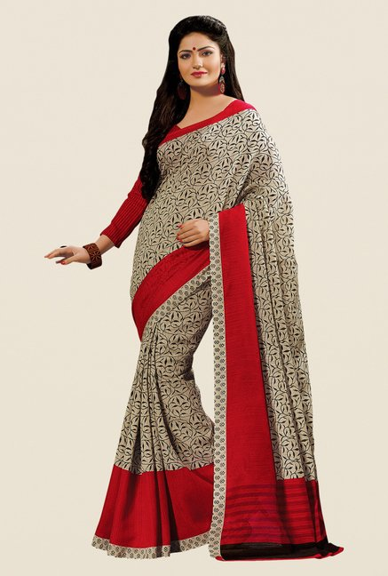 Shonaya Beige & Maroon Cotton Silk Printed Saree
